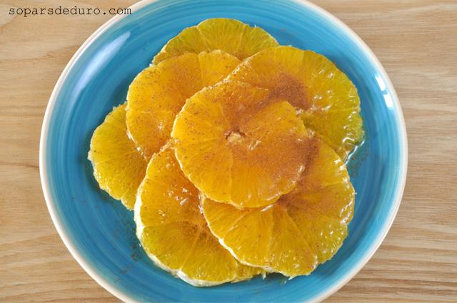 Taronja amb mel i canyella. Sopars de duro
